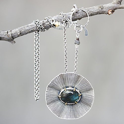 Labradorite pendant necklace in silver  bezel setting with silver chain and labradorite secondary on oxidized sterling silver chain