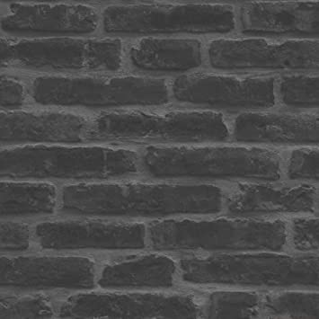 Direct Wallpapers Papier Peint Imitation Mur Briques Noir Gris