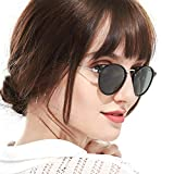 Retro Polarized Round Sunglasses for Women Vintage Circle Style 100% UV Protection(Black Frame/Green Lens)