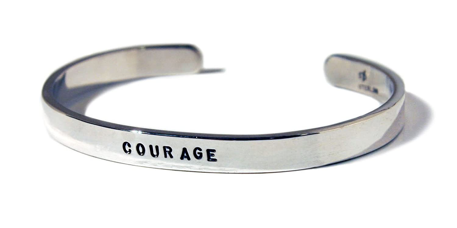 com courage inspirational bracelet jewelry cuff amazon silver dp