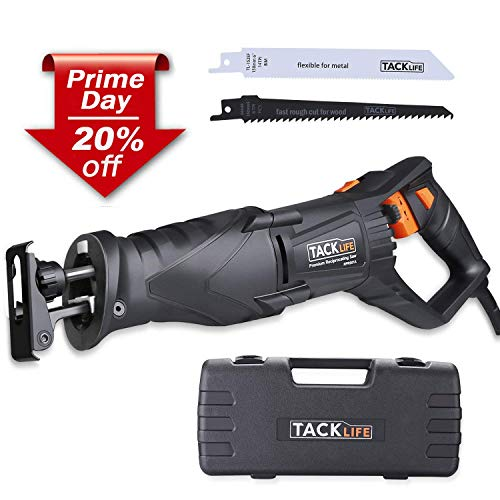 【Deal for PD】TACKLIFE Reciprocating Saw, 850W, 2800SPM, LED Light, Rotatable Handle Design, 2 Saw Blades for Wood and Metal, Sturdy Box-RPRS01A ()