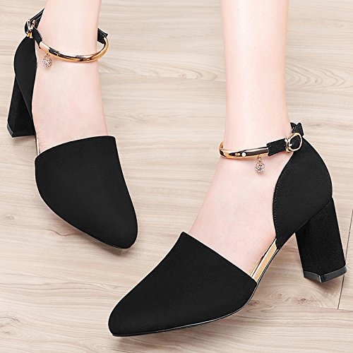 HGTYU-Spring All Match Pointed Shoes With Thick Shallow Mouth Baotou Summer Sandals Ladies High Heeled Shoes Tide 7Cm Black dcV94