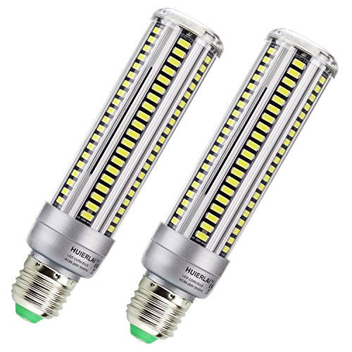 2-pack (20 Watts) LED Corn Light Bulb, AC110-130V E26/E27 1980 Lm Daylight 5000K White, for Street Lamp Post Lighting Garage Factory Warehouse High Bay Barn Porch Backyard Garden Super Bright