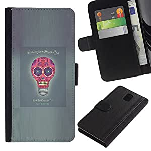 Planetar® Modelo colorido cuero carpeta tirón caso cubierta piel Holster Funda protección Para SAMSUNG Galaxy Note 3 III / N9000 / N9005 ( Idea Skull Funny Poster Light Bulb Grey )