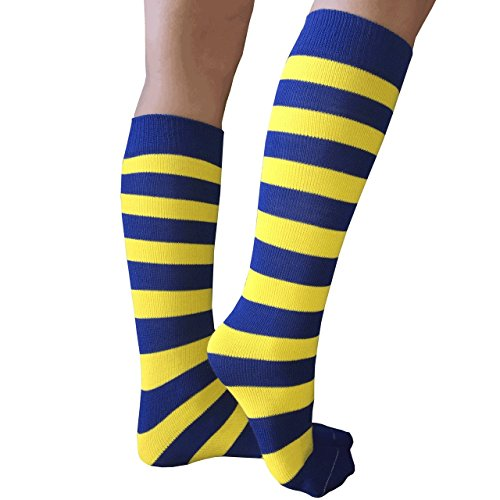 Chrissy's Socks Women's Striped Knee High Socks 7-11 Royal Blue / Yellow -