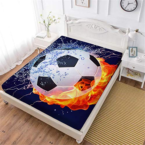World Cup Soccer Sheets - Oliven 3D Boys Fitted Sheet King Size Soccer Ball/Football 100% Breathable Polyester Kids Deep Pocket Sheet 1 Pcs Home Decor