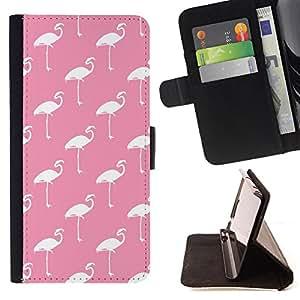 King Art - Premium-PU-Leder-Prima caja de la PU billetera de cuero con ranuras para tarjetas, efectivo Compartimiento desmontable y correa para la mu?eca FOR HTC M8 One 2 - Swan Cute