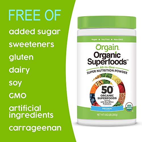 Orgain Organic Green Superfoods Powder, Original - Antioxidants, 1 Billion Probiotics, Vegan, Dairy Free, Gluten Free, Kosher, Non-GMO, 0.62 Pound (Packaging May Vary) by Orgain (Image #4)
