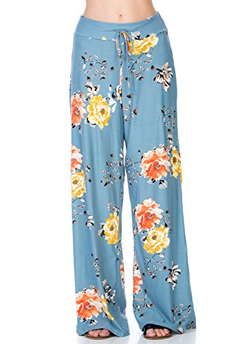 5 Pocket Wide Leg (Junky Closet Women's Drawstring High Waist Super Soft Stretch Comfy Wide Leg Pocket Pants (Medium, P3214PCAO Dusty Blue))