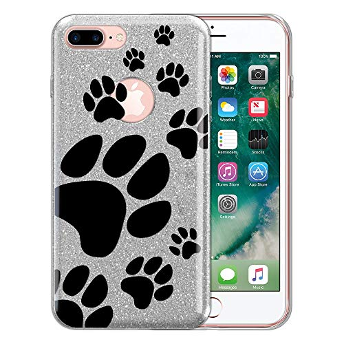 (FINCIBO Case Compatible with Apple iPhone 7 Plus / 8 Plus, Shiny Sparkling Silver Bling Glitter TPU Protector Cover Case for iPhone 7 Plus / 8 Plus (NOT FIT iPhone 7/8) - Dog Paw Prints)