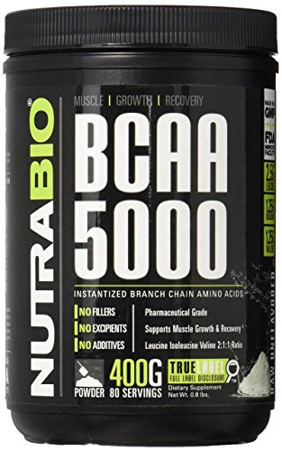 NutraBio BCAA 5000 Powder - 400 Grams - Unflavored - 100% Pure Branched Chain Amino Acids - HPLC Tested.