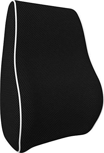 bonmedico Orthopedic Lumbar Support Pillow, Back Cushion with Memory Foam, Back Pillow for Back Support and Back Pain Relief, Ergonomic Lumbar Pillow for Car Seat, Home, Office-Chair, Black, Small