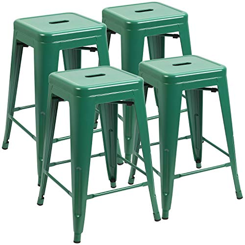 JUMMICO Metal Bar Stool 24 Inches Indoor Outdoor Industrial Barstools Stackable Counter Height Modern Vintage Backless Bar Stools Set of 4 Green