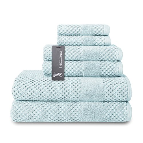 Chortex Turkish Cotton 6 Piece Towel Set, Set of 6, Duck Egg ()