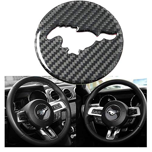 1 Set Real Carbon Fiber Steering Wheel Insert Decoration Cover Emblem Sticker for 2015 and up Ford ()
