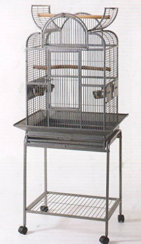 Wrought Iron Open Play Top Bird Small Parrot Cage With Metal Seed Guard and Removable Rolling StandBlack Hammertone