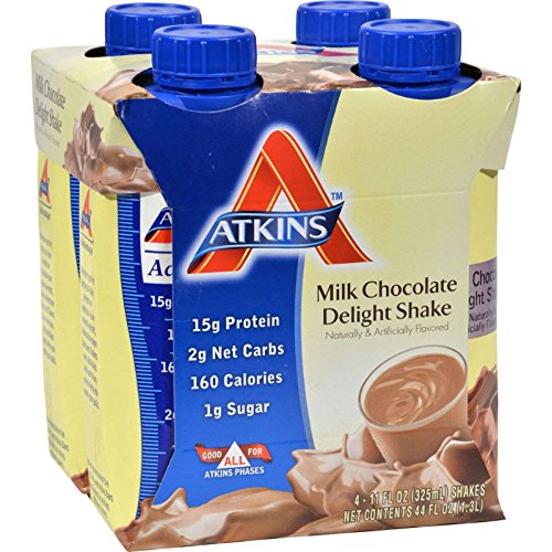 Atkins Ready To Drink Shake, Milk Chocolate Delight, 4 Count (Pack of 6)