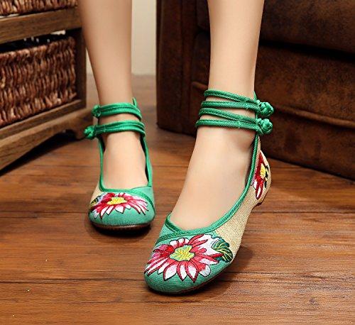 WXT Zapatos bordados, lenguado del tendón, estilo étnico, zapatos de tela femenina, moda, cómodo, casual dentro del aumento Green