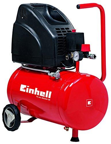 Einhell Kompressor TH-AC 200/24 OF (1,1 kW, 24 L, Ansaugleistung 140 l / min, 8 bar, ölfrei, große Räder und Haltebügel)
