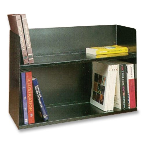 Buddy Products Two Tier Book Rack, Steel, 10.5 x 20 x 30.125 Inches, Black (1221-4)
