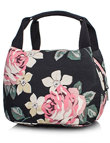 Insulated Lunch Box for Girls, School Children Lunch Bag Tote Bag for Girls by TOPERIN (Black)