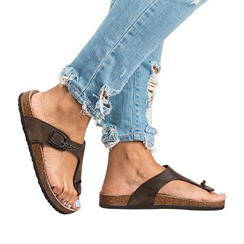 Jeanewpole1 Sandali Gizeh Da Donna Fibbia Regolabile Tracolla Slip On Flip Flop Perizoma Marrone Scuro-1