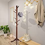 Tiny Times 8 Hooks Solid Rubber Wood Entryway Hall Tree Coat Tree Tripod Base Coat Hat Purse Jacket, Coffee