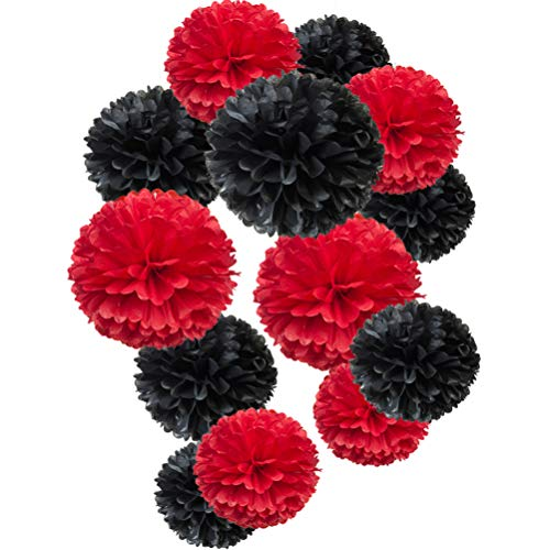 Paper Flower Tissue Pom Poms Party Supplies (black,red,12pc) ()
