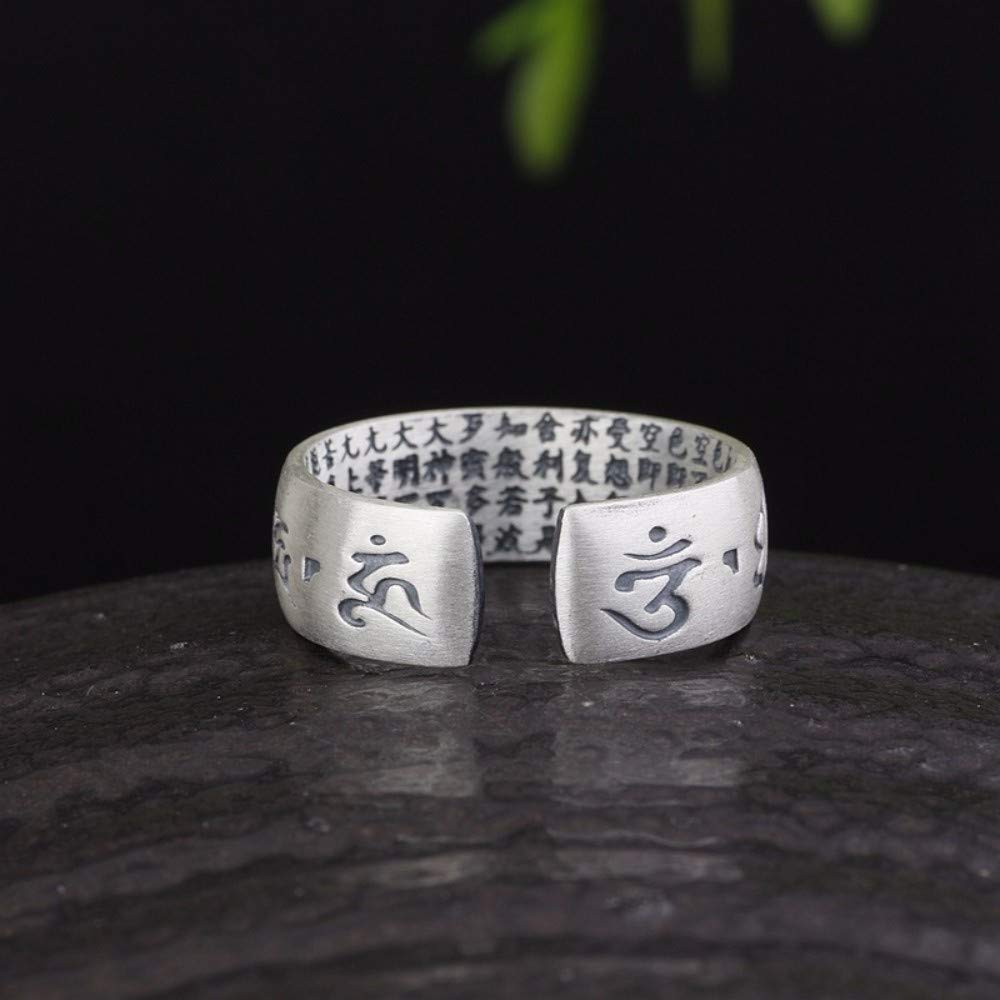 Vintage S925 Silver Ring Womens Simple Opening Matte Lotus Heart Through The Six-Word Mantra Fashion Creative Gift Personality Trend