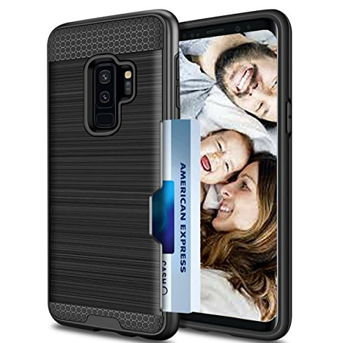 So Slick Samsung Galaxy S9 Plus Case-Metallic Rugged Hybrid Dual Layer Shock Proof Armor Defender Protective Ultra Slim Case Cover.Galaxy S9 plus with Credit Card Holder Slot Wallet 2018 Black