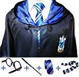 Main Street 24/7 Ravenclaw Cosplay with Robe, Wand, Glasses, Tie and Scarf-Sz Large