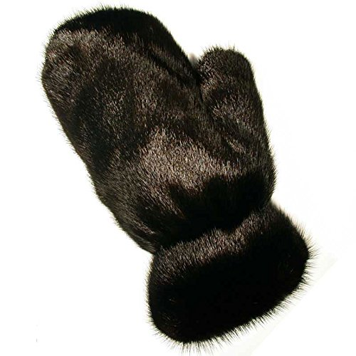 MinkgLove Mink Massage Glove, Silky and Textured Feel, Ranch Black Color, Hand Tailored, Unisex, One Size - Double Sided Fur by MinkgLove
