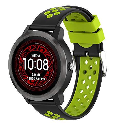 Urtone Armband für Garmin Vivoactive 3 / Vivomove HR/Vivoactive 3 Music/Forerunner 245/645 Music Smartwatch Silikon Uhrenarmband Ersatzband (schwarz&Grün)