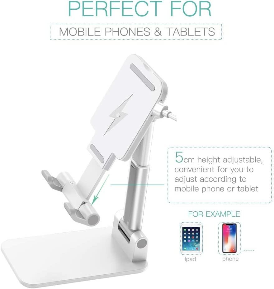 Foldable Mobile Phone Stand Rechargeable Black for Rechargeable Universal Tablet Stand Compatible with Mobile Phone//iPad//Tablet Adjustable Desktop Phone Stand with Adjustable Angle and Height