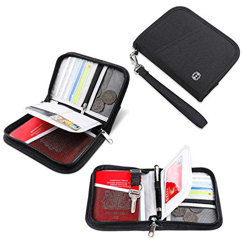 Zipped Compact Wallet - Vemingo Family Passport Holder RFID-Blocking Travel Wallet Ticket Holder Document Organizer with Zipper for Women Men, Fits 5 Passports