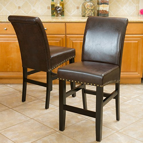 Great Deal Furniture Clifton Brown Leather Counter Stools w/Brass Nailheads (Set of 2) For Sale