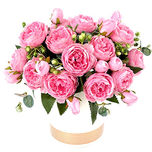 Flower Fork - XONOR 3 Packs Artificial Peony Silk Flowers Fake Glorious Flower Bouquets for Wedding Party Bridal Home Decoration, 5 Forks, 9 Head (Pink)
