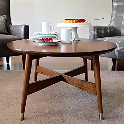 Amazon Com Mid Century Transitional Round Coffee Table With Warm
