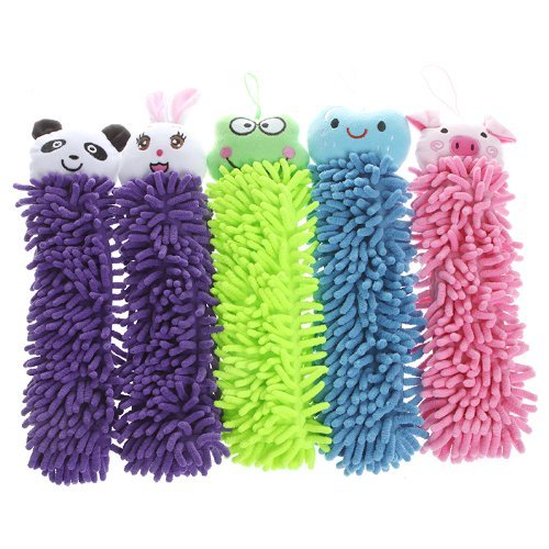 Kitchen Chenille Fiber Hand Towel Clean Absorbent Cloth, Dry Your Hands Quickly, 5 In 1 set(Cute Smiling Face Blue,Cute Cartoon Rabbit Purple,Cute Cartoon Pig Pink,Cute Cartoon Panda Purple,Cute Cart (Panda Hand Towel)