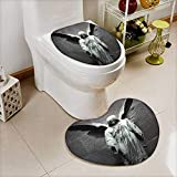 L-QN U-Shaped Toilet Mat-Soft Collection Sculpture an Angel Dark Background Catholic Belief Century Old Artwork 2 Piece Toilet Toilet mat