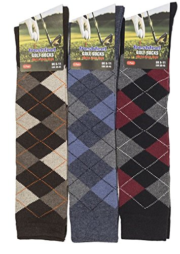 12/6 MENS LONG KNEE HIGH ARGYLE DESIGN SOCKS GOLF SOCKS GOLFING FATHERS DAY(One Size 6 Pairs Long Argyle Diamond) Argyle Knee High Socks