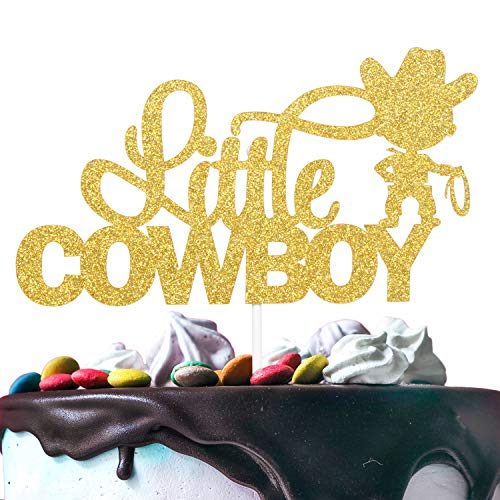 Little Cowboy Birthday Cake Topper - Gold Glitter Lasso Roper Rodeo Cake Décor - Baby Shower Boys Birthday Western Wild West Farm Theme Party Decoration -