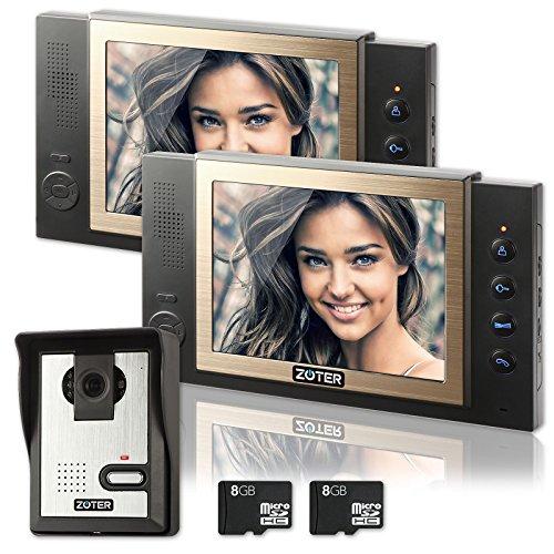Video Door Phone,  ZOTER Wired Video Doorbell Intercom 8 Inch LCD Screen Recording Gate System with 2 Monitors (Door Phone)