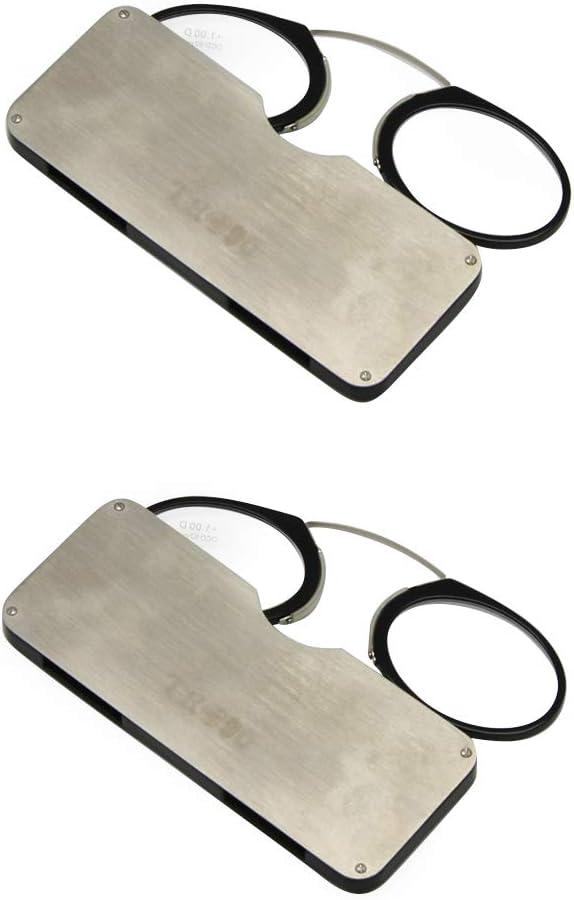 Vidrios de lectura de EnzoDate carpeta con estuche, tarjeta de crédito tamaño emergencia leyendo gafas llevan en su bolso, nariz gafas de descanso (Fuerza + 1.5, 2 par negros)