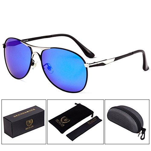 BEALER Premium Polarized Aviator Sunglasses for Men - UV400 Mirrored Lens (Silver&Blue, - Aviator 62mm