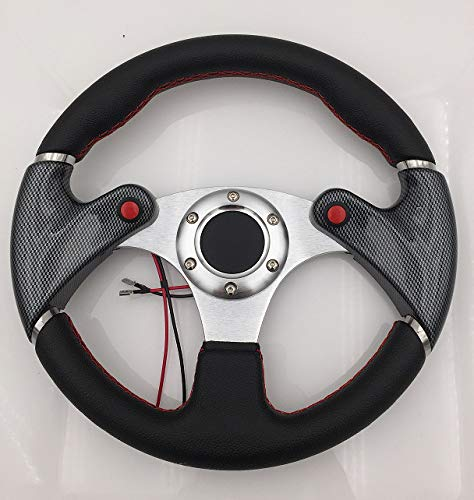 AJP Distributors Universal 6 Bolt Hole 320MM Black PVC Leather Red Stitching Silver Center Carbon Fiber Style Steering Wheel NOS Nitrous Button + Blank Horn ()