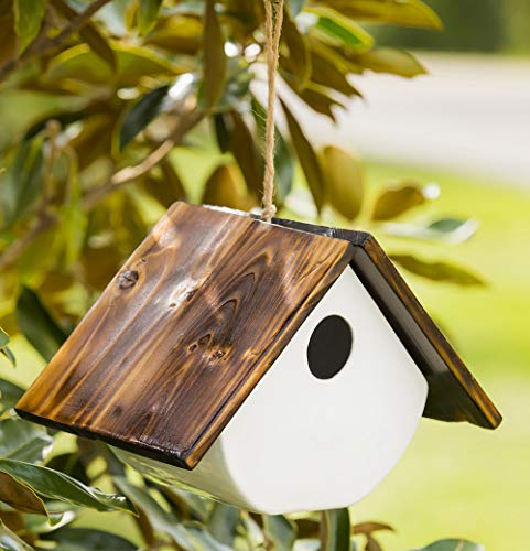 White Ceramic and Wooded Restful Hanging Birdhouse for Outdoor