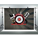 FHZON 10x7ft Music Microphone Backdrop Photography Sound Game Background Theme Party Photo Booth Props PFH579