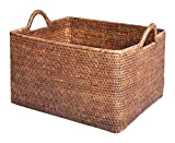 Artifacts Rattan Rectangular Basket, 19'' L x 16'' W x 12'' H