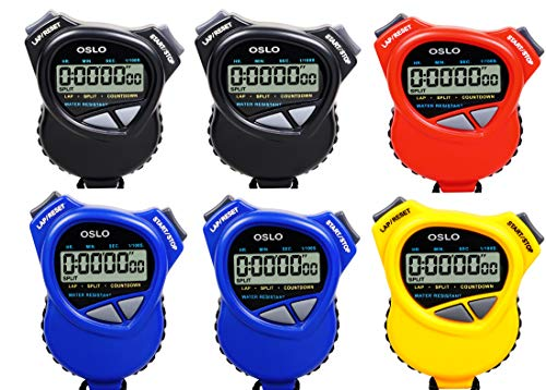 Oslo Robic 6 Pack Assortment Dual Stopwatch/Countdown Timer ()
